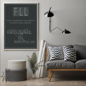Fort Lauderdale Florida Hollywood International Airport Map Print