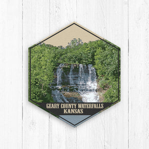 Geary County Waterfalls Kansas Hexagon Illustration by Printed Marketplace