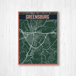 Greensburg Pennsylvania Urban City Street Map Print