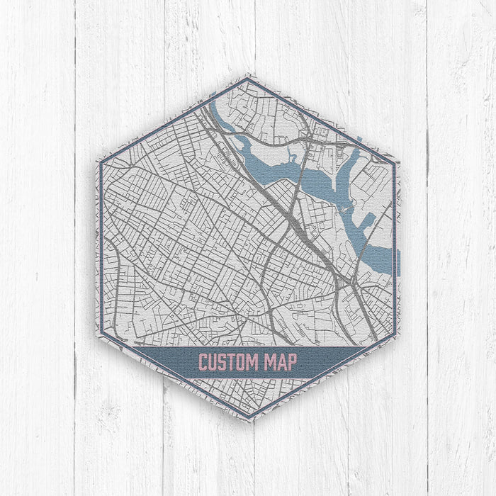 Custom Hexagon Street Map Print by Printed Marketplace