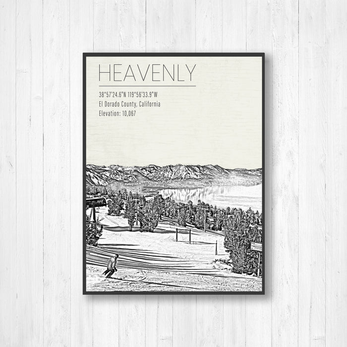 Heavenly Ski Resort Black & White Sketch