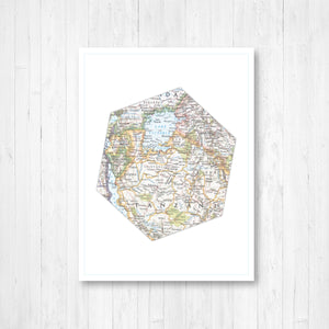 Hexagon Shape Map Print