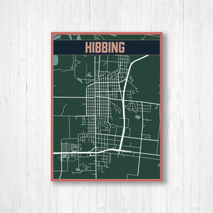 Hibbing Minnesota Urban City Street Map Print