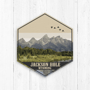 Jackson Hole Wyoming Hexagon Illustration Print