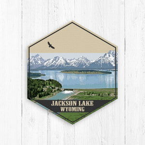 Jackson Lake Wyoming Hexagon Canvas Illustration