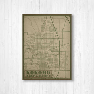 Kokomo Indiana Military Map