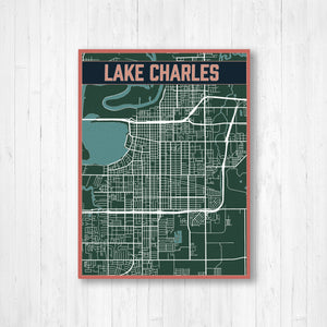 Lake Charles Louisiana Urban City Street Map Print