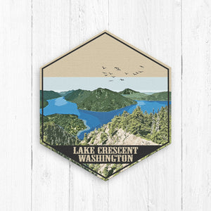 Lake Crescent Washington Hexagon Illustration