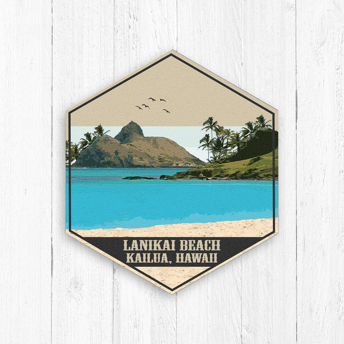 Lanikai Beach Hawaii Hexagon Illustration