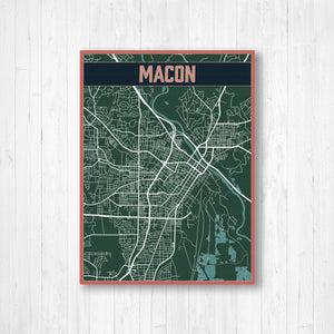 Macon Georgia City Street Map | Hanging Canvas Map of Macon | Printed Marketplace