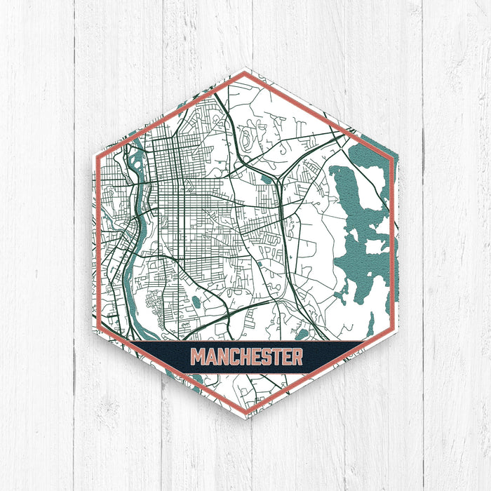 Manchester New Hampshire City Map Print