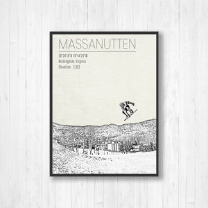 Massanutten Virginia Ski Resort Illustration Print | Hanging Canvas of Massanutten | Printed Marketplace