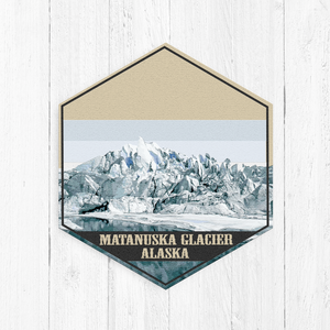Matanuska Glacier Alaska Hexagon Illustration
