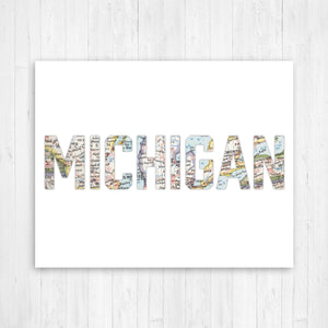 Michigan Shape Map Print