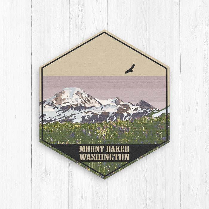 Mount Baker Hexagon Illustration Print
