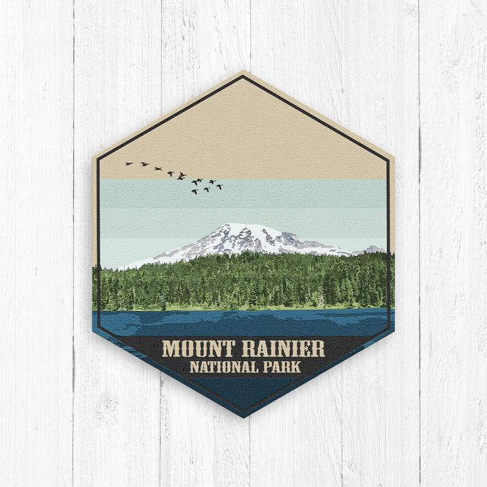 Mount Rainier National Park Hexagon Illustration