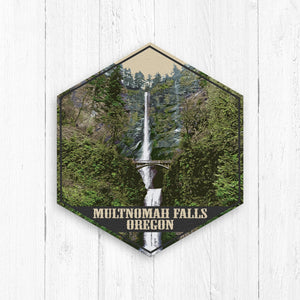 Multnomah Falls Oregon Hexagon Illustration