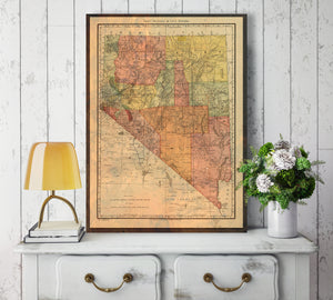 Nevada State Colored Antiqued Map Print