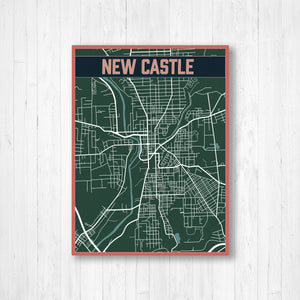 New Castle Pennsylvania Urban City Street Map Print