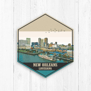 New Orleans Louisiana Hexagon Illustration by Printed Marketplace