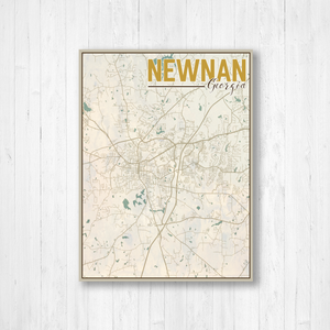 Newnan Georgia City Street Map Print