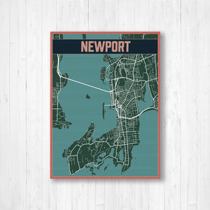 Newport Hanging Canvas Map | Printed Marketplace