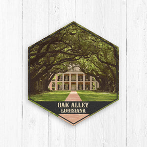 Oak Alley Plantation Louisiana Hexagon Illustration by Printed Marketplace
