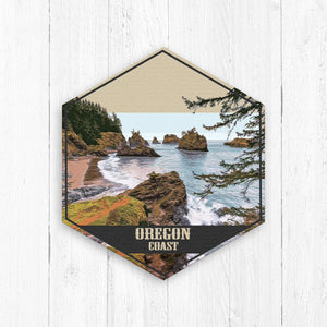 Oregon Coast Hexagon Illustration Print