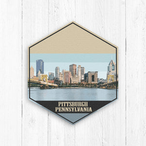 Pittsburgh Pennsylvania Hexagon Illustration by Printed Marketplace