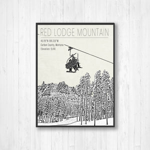 Red Lodge Mountain Montana Ski Resort Print | Hanging Canvas of Red Lodge Ski Resort | Printed Marketplace