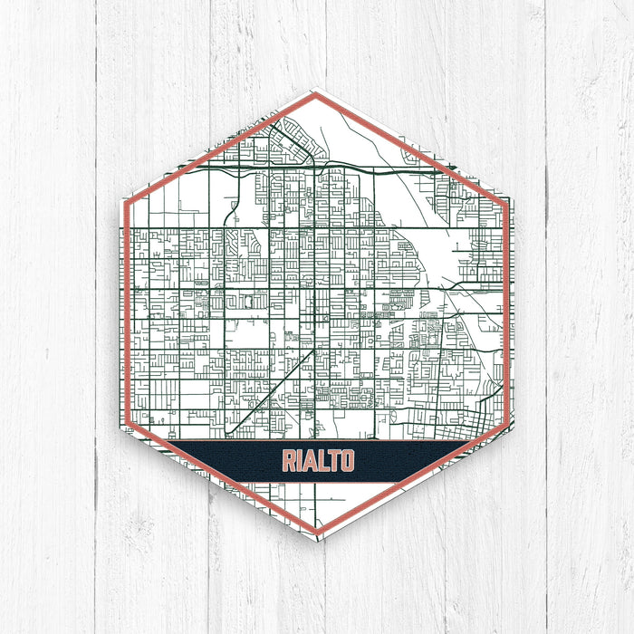 Rialto California Hexagon Street Map Print