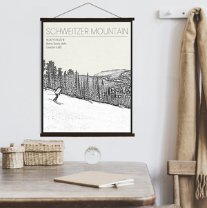 Schweitzer Mountain Idaho Ski Resort Print | Hanging Canvas of Schweitzer Mountain | Printed Marketplace