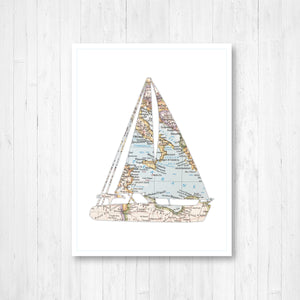 Sailboat Silhouette Map