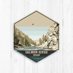 Salmon River Hexagon Illustration Print