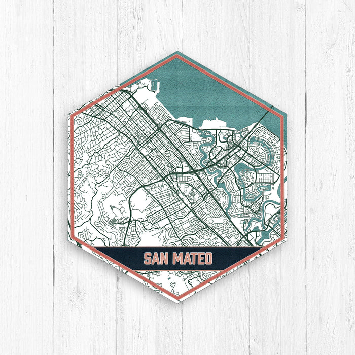 San Mateo California Hexagon Street Map Print