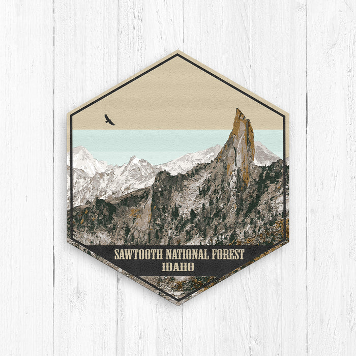 Sawtooth National Forest Idaho Hexagon Illustration Print