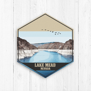Lake Mead Nevada Hexagon Canvas Illustration