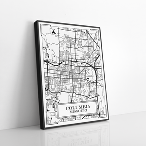 Columbia Missouri City Street Map Print