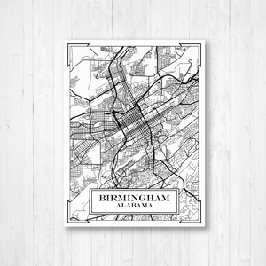 Birmingham Alabama City Street Map Print