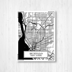 Buffalo New York City Street Map Print