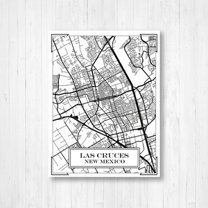 Las Cruces New Mexico Street Map Print