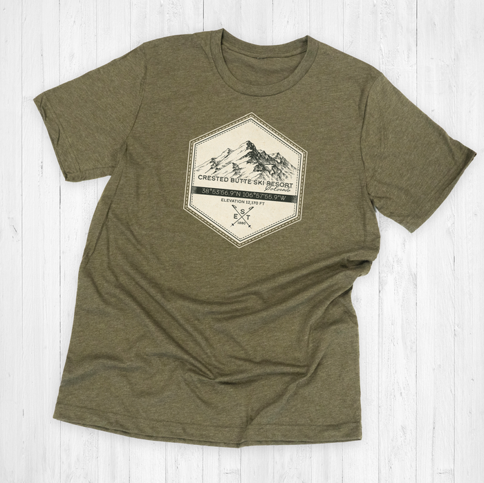 Crested Butte Ski Badge Tee Shirt or Hoodie