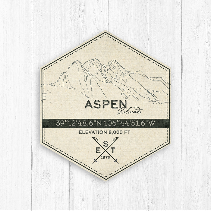 Aspen Ski Resort Hexagon Badge