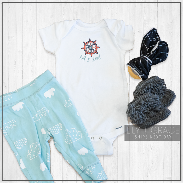 Let's Sail Nautical Onesie® | Baby Onesie® | Toddler Summer Clothing