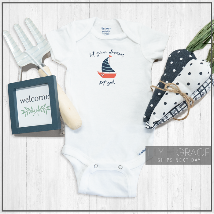 Let Your Dreams Set Sail Nautical Onesie® | Kid's Clothing | Toddler Apparel