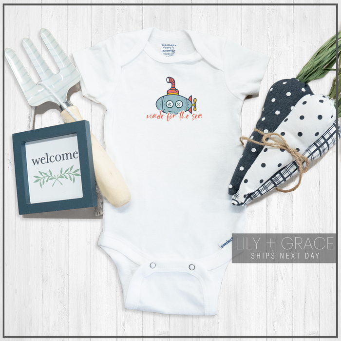 Made For The Sea Submarine Onesie® | Nautical Baby Bodysuit | Toddler T-Shirt