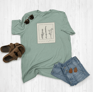 No Rain, No Flowers Floral Polaroid Graphic Tee Shirt or Hoodie by Lily and Grace Adults