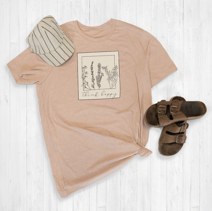 Think Happy Floral Polaroid Graphic Tee Shirt or Hoodie by Lily and Grace Adults