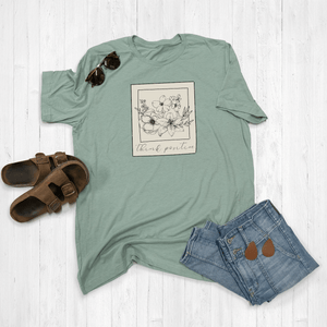 Think Positive Floral Polaroid Graphic Tee Shirt or Hoodie
