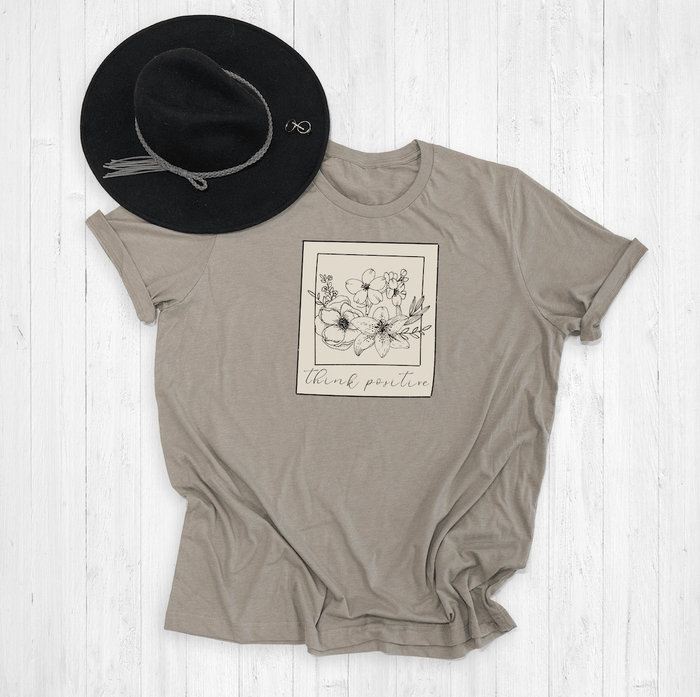 Think Positive Floral Polaroid Graphic Tee Shirt or Hoodie by Lily and Grace Adults